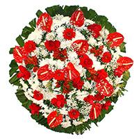 CoroaDeFlores.net - Coroa de Flores Luxo Vermelha